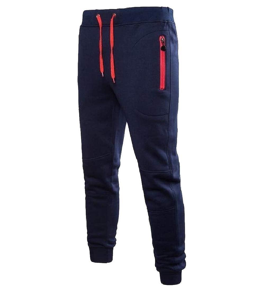 Tootless-Men Drawstring Autumn Winter Long Maxi Zip Casual Jogger Pant
