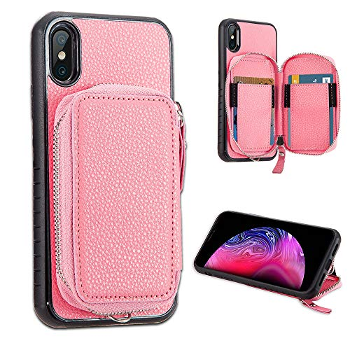 LUXCA Wallet Case for iPhone Xs Max; Professional Leather Zipper Wallet Pocket Purse Handbag Wrist Strap snap on case for Apple iPhone Xs Max (Pink Rose Gold)