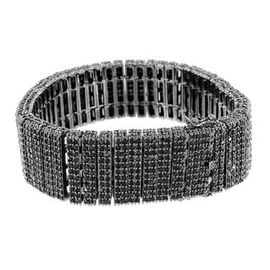14k Bold Black Gold Finish Micro Pave Lab Diamond Mens Brand New Bracelet Sale by Master Of Bling