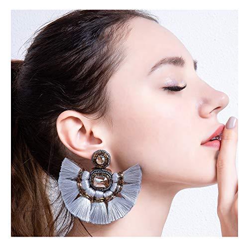 Grey Fan Tassel Earrings For Women Fashion Bohemian Beaded Fanned Tier Earrings Big Layered Hanging Silk Fabric Boho Tassel Fringe Earrings Dangling Tiered Thread Drop Earrings -