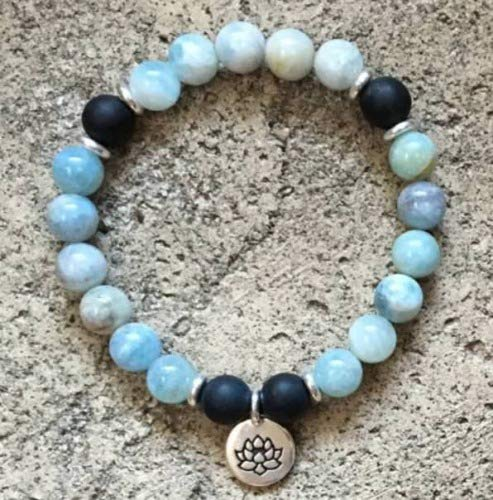Noinajewelryfashion Black Onyx & Aquamarine Natural Beads 8 mm mala Cuff Bracelet Man Yoga - Cuff Onyx Bracelet