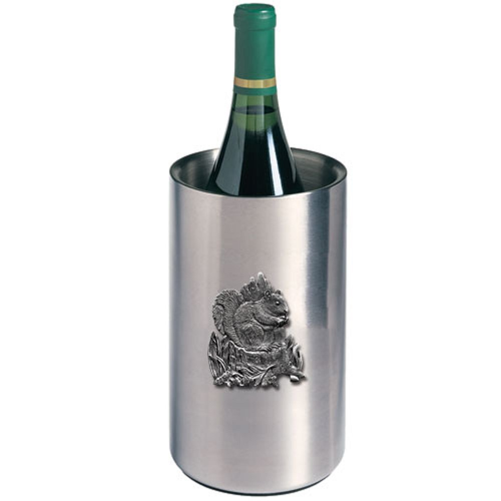 ANIMAL, SQUIRREL WINE CHILLER, This is a wine chiller made of double-wall insulated stainless steel with a fine pewter logo medallion bonded to the front.