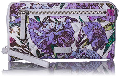 (Vera Bradley Iconic RFID Front Zip Wristlet, Signature Cotton, Lavender Meadow)