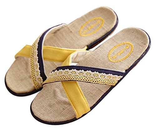 Blubi Donna Estate Pizzo Deco Lino Casa Pantofole Pantofole Da Donna Accogliente Pantofole Camera Da Letto Giallo