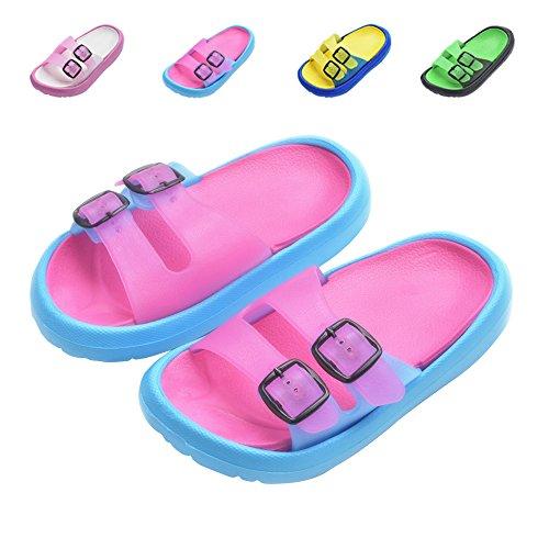 Toddler Little Kids Summer Sandals Non-Slip Boy Girl Slide Lightweight Beach Water Shoes Shower Pool Slippers (Little Kid 11.5-12.5M, Rose ()