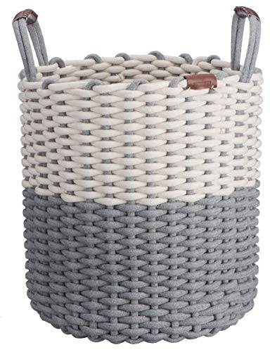 Large Cotton Rope Basket w/Handles - Decorative Circular Basket | Portable & Compact, Folds Flat | Neutral Tones for Home Decor | Versatile Storage Bin, Laundry Hamper, Kids Toy Bins, Shoes,Blankets