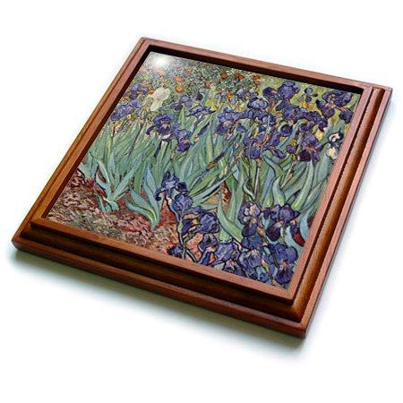 3dRose trv_46958_1 Van Gogh Irises-Iris, Flower, Wedding Anniversary, 25th Anniversary, Faith Trivet with Ceramic Tile, 8 by 8