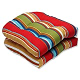 Pillow Perfect Outdoor Westport Garden Wicker Seat Cushion, Multicolored, Set of 2