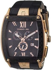 Cerruti 1881 Mozia CRD005C233G - Reloj de caballero de cuarzo, correa de piel color negro