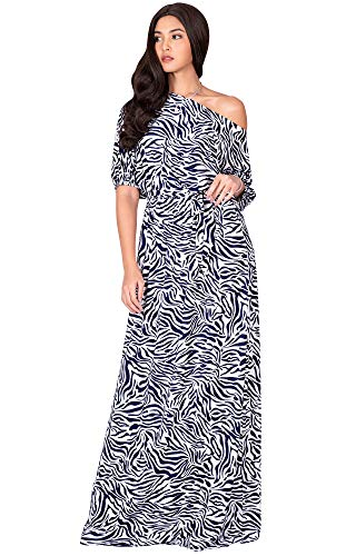 - KOH KOH Womens Long 3/4 Short Sleeve Sexy One Off Shoulder Casual Spring Summer Floor Length Print Printed Flowy Loose Baggy Gown Gowns Maxi Dress Dresses, White & Navy Blue L 12-14