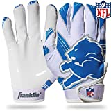 Franklin Sports Detroit Lions Youth NFL Football Receiver Gloves – Receiver Gloves for Kids – NFL Team Logos and Silicone Palm – Youth S/XS Pair