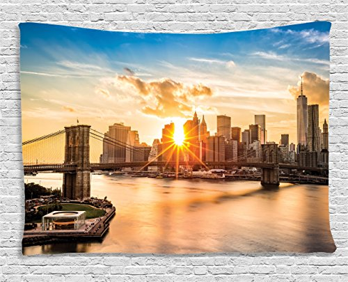Ambesonne New York Tapestry, Cityscape of Brooklyn Bridge and Manhattan River Center of Culture Photo, Wide Wall Hanging for Bedroom Living Room Dorm, 80
