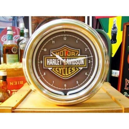 掛け時計 ハーレーダビッドソン ロゴマーク ネオンライト付 B00FIYR1XW