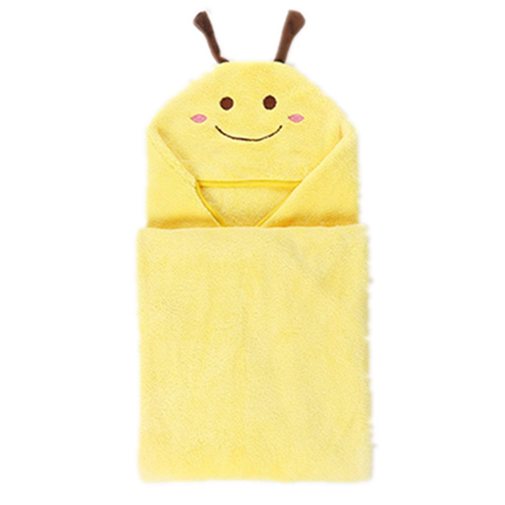 Kids Cartoon Animal Polyester Bath Towel for Boys and Girls (Yellow)