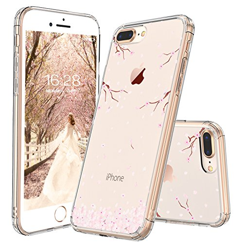 reputable site 093c1 90c41 iPhone 7 Plus Case, iPhone 8 Plus Case, MOSNOVO Cherry Blossom Floral  Printed Flower Clear Design Back Case with TPU Bumper Protective Case Cover  for ...