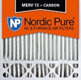 Nordic Pure 20x20x5HM15+C-2 Honeywell Replacement MERV 15 Plus Carbon AC Furnace Air Filters, Qty 2