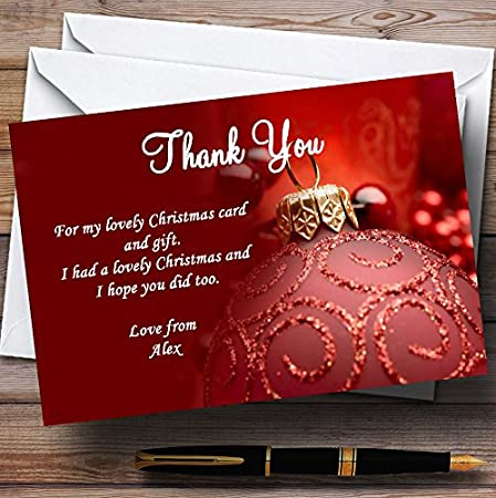 Red Personalized Christmas//New Year//Holiday Party Thank You Cards