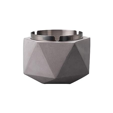 Cenicero Geométrico De Acero Inoxidable con Tapa,Cemento ...