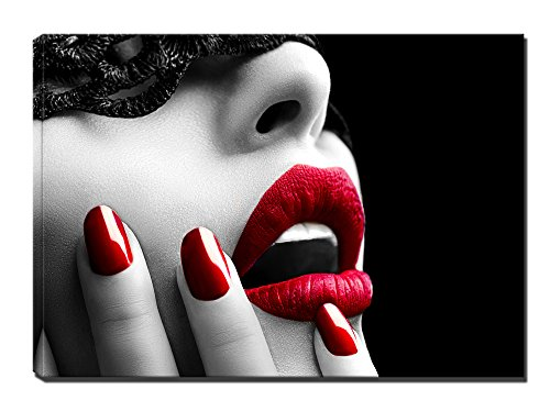 Mask Women Red Lip Canvas Wall Art - Red Nails Picture Painting on Canvas Framed Ready to Hang for Living Room Bedroom Office (75x50cm) ()