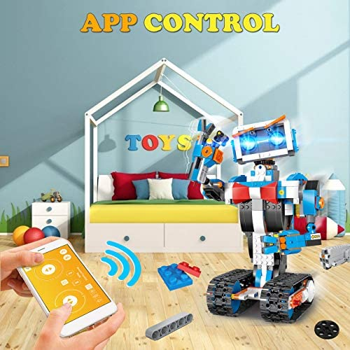 512OjM%2B2O%2BL. AC  - okk STEM Robot Building Block Toy for Kids, Remote and APP Controlled Engineering Science Educational Assembling Learning Kits Intelligent Rechargeable Creative Set for Boys Girls Gift (635 Pieces)