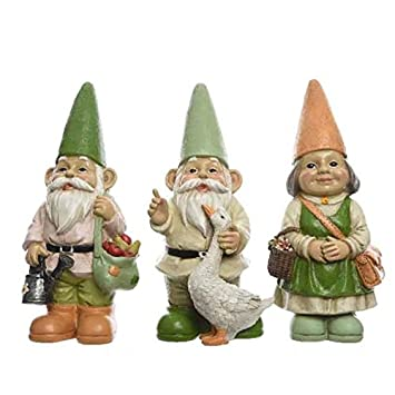 Large Garden Gnome with Dark Green Umbrella and Hat 38.5/cm Gnome Figurine for Home and Garden Gnome Green Dark Green