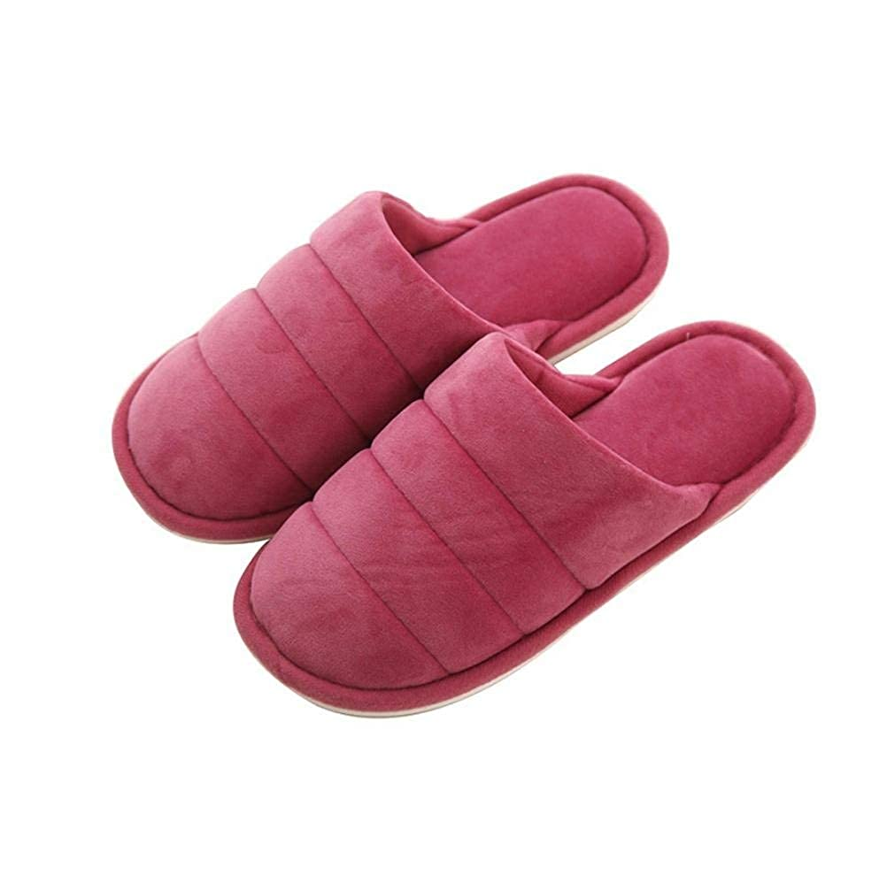 Dark red Lady Slippers Ladies Home Non-Slip Breathable Super Soft Slippers Autumn and Winter Indoor and Outdoor Solid color Classic Basic Cotton Slippers