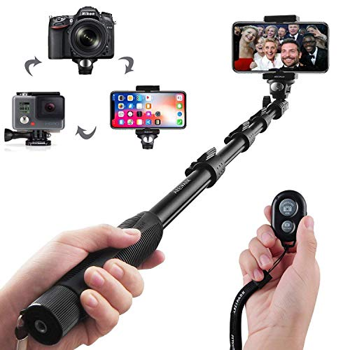 Selfie Stick, Arespark Wireless Extendable Selfie Monopod Portable Selfie Pole for Gopros, DSLR, Cameras & iPhoneX 8 7 Plus Android Samsung Galaxy S9 S8 with Bluetooth Remote - Standard Snowboarding