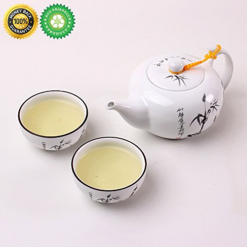China Tea-Pot Set for 2, Gift Box,TEANAGOO-Titan,Pot (15 oz),Japan Beauty Strainer Infuser, Infused Yixing Zisha Cup(3.6 oz), One Piece Modern Chinese White Unique Asian Service, Adults Loose Leaf Tea