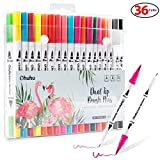 Dual Tip Brush Marker Pens 36 Colors, Ohuhu Art Markers Dual Tips Coloring Brush Fineliner Color Pens, Water Based Marker for Calligraphy Drawing Sketching Coloring Book Bullet Journal Art Projects