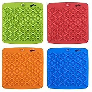 Bekith Silicone Pot Holder, Trivet Mat, Jar Opener, Spoon Rest and Garlic Peeler (Set of 4) Non Slip, Flexible, Durable, Dishwasher Safe Heat Resistant Hot Pads