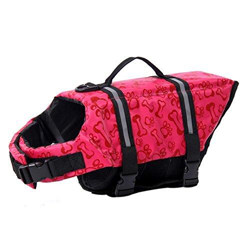 Domybest Dog Saver Life Jacket Vest Pet Preserver Aquatic Safety Pink XL