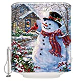 CHARMHOME 72x72 Inch Winter Holiday Merry Christmas Happy Snowman and Cardinals Shower Curtain New Waterproof Fabric Bath Curtain (Shower Rings Included)