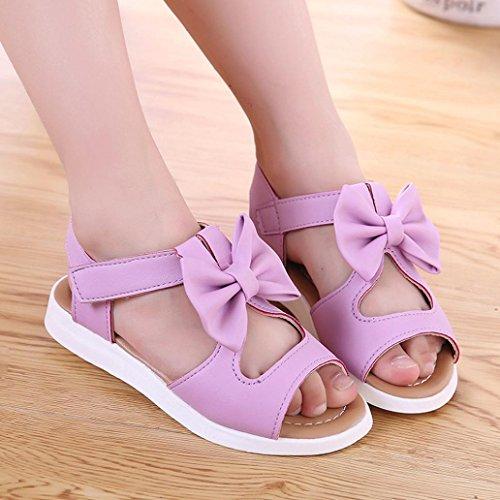 sandalias nina verano baratas Switchali infantil casual zapatos bebe niña primeros pasos con suela blanda princesa Zapatos Bowknot Sandalias de vestir niña playa Zapatillas Púrpura