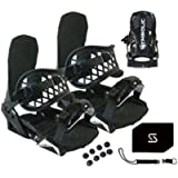 Symbolic Custom-Flow Black Snowboard Bindings & Leash & Stomp Pad Large-XL