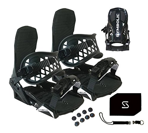 Symbolic Custom-Flow Black Snowboard Bindings & Leash & Stomp Pad Large-XL (Black, Large-XL Men (Fits 9-14))
