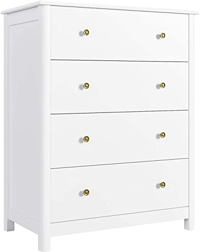 HOMECHO 4 Drawer Dresser, Wide Chest of Drawers, White Dresser Tower with Sturdy Wood Frame and Curve Legs, Sliding Rail Antique Handle Vertical Chest for Bedroom, Living Room, Hallway, Closet