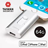 【Apple MFi Certified】 iSafeFile Flash Drive for Computer, iPhone & iPad (Lightning Connector), External Storage Memory Expansion USB Stick with Built-In Hardware Encryption 64GB(S