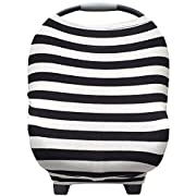 Nursing Breastfeeding Cover and Baby Car Seat Cover Canopy Multi-Use 5 in 1  The Original  Black and White Gift by Stormbaby.