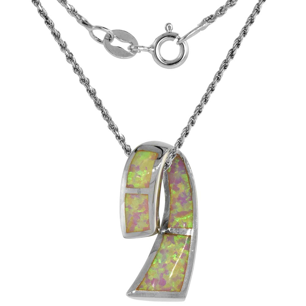 Sterling Silver Synthetic Opal Ribbon Necklace for Women Available in Blue /& Pink 7//8 inch Rope Chain