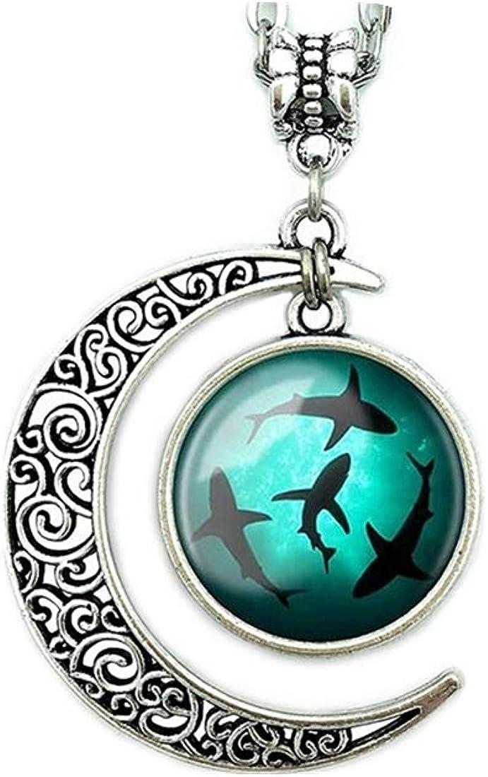 Moon Pendant Circling Sharks Necklace Shark Jewelry Ocean Pendant Best Friendship Gift for Women