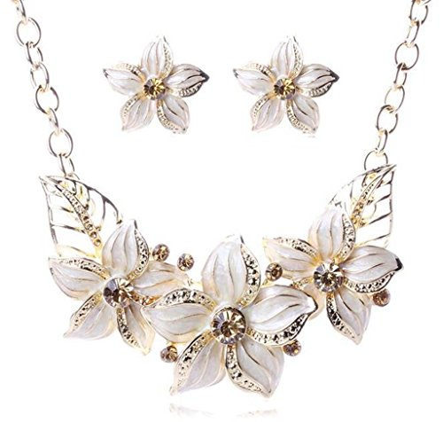Vogue Gold Plated Crystal Purple Enamel Flower Bib Collar Necklace Earrings Jewelry Set - Service Customer Vogue