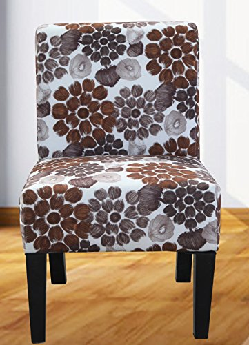 US Pride Furniture Grace Flower Patterned Fabric Accent Chair, Brown