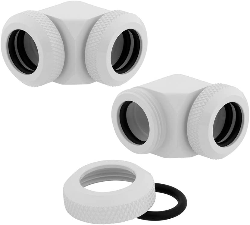 Corsair Hydro X Series XF Hardline 90° 12mm OD Fitting Twin Pack — White