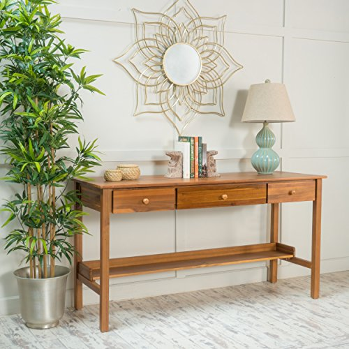 Oswald Teak Finish Wood Console Table - Teak Console Wood Table