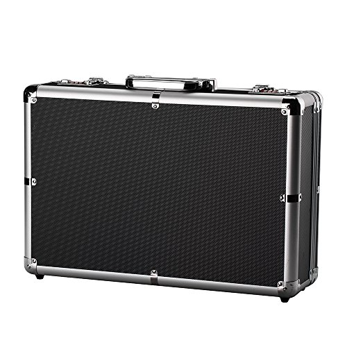 Portable Aluminum Hard Case ToolBox Large Black Mens Briefcase Aluminum Hard Case Metal Carrying Case ()