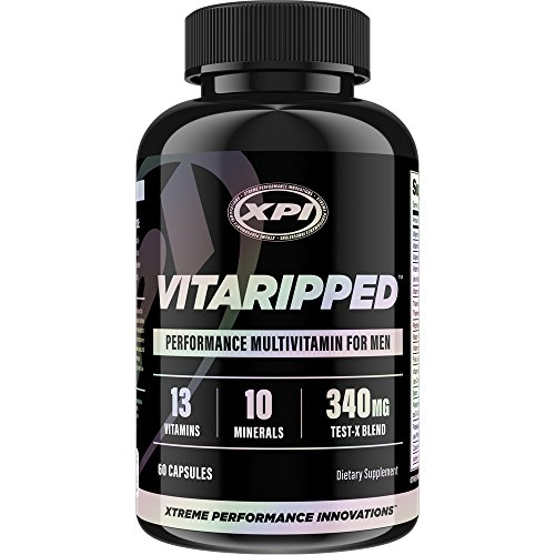 Vitaripped 60 Caps - Complete Multivitamin For the Active Man - Over 20 Essential Vitamins & Minerals - All Natural Ingredients & Testosterone Blend