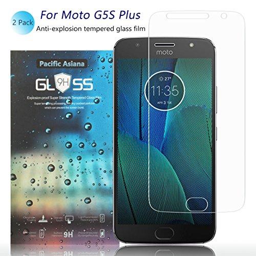 [2-Pack]Motorola Moto G5S Plus Screen Protector, Pacific Asiana 0.3mm HD Clear Ballistic [9H Hardness][Anti-Scratch][Bubble-Free][Shockproof][Anti-Fingerprint] Tempered Glass for XT1803/XT1805/XT1806 -
