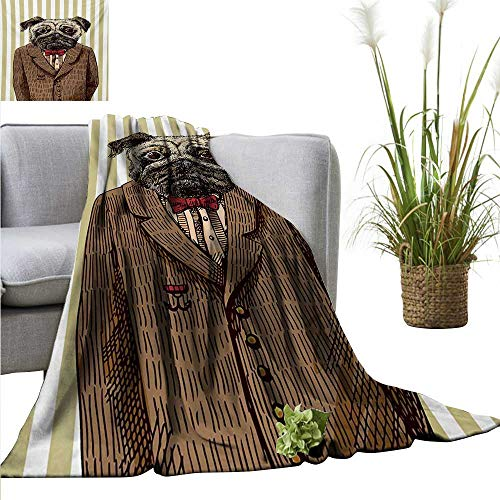 AndyTours Sand Free Beach Blanket,Pug,Hand Drawn Sketch of Smart Dressed Dog Jacket Shirt Bow Suit Striped Background,Brown Pale Brown,Soft Summer Cooling Lightweight Bed Blanket 50