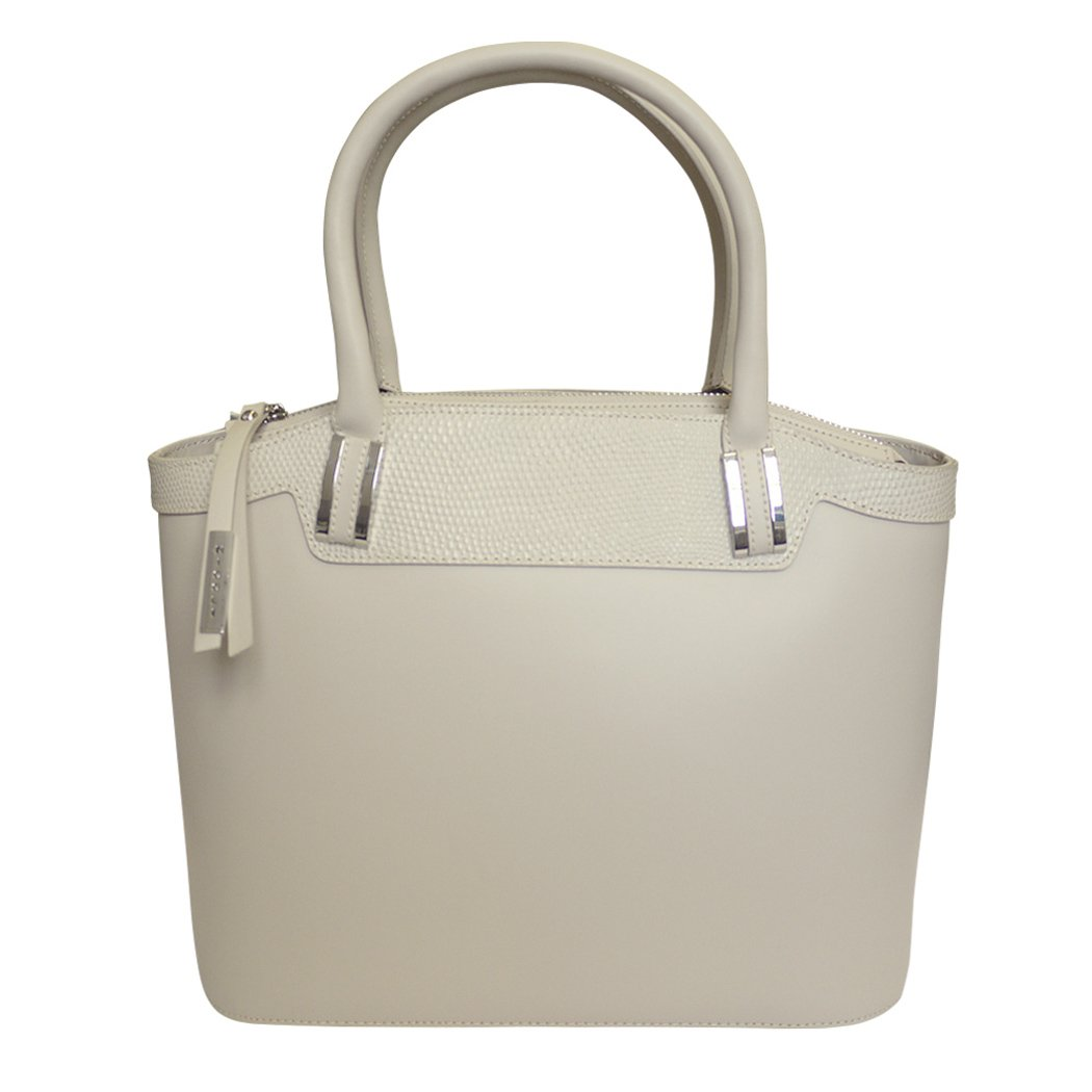 Nicoli 'Eleganza' Designer Italian Leather Tote Bag Grab Handbag Wedding Bag - Cream