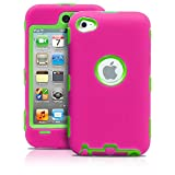 iPod Touch 4th Case, MagicMobile® Premium Heavy Duty Hybrid Shockproof Armor Cover Hot Pink Silicone Layer and Green Hard Plastic Shell with MagicMobile Charm